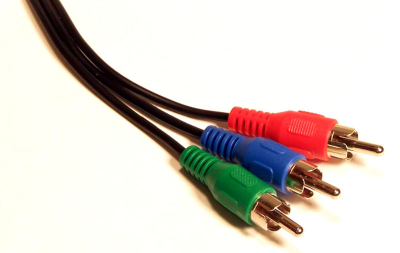 Conexão com cabos de Vídeo Componente