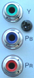 Entrada para a conexão com cabos de Vídeo Componente