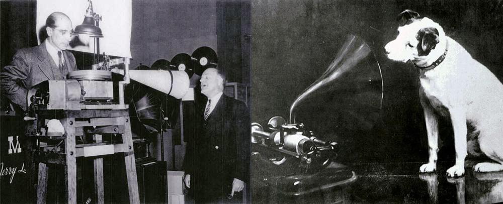 O símbolo da Victor Talking Machine (depois RCA, com o selo His Master's Voice) está ironicamente sentado diante de um cilindro de Edson, mas inserido no selo de um disco