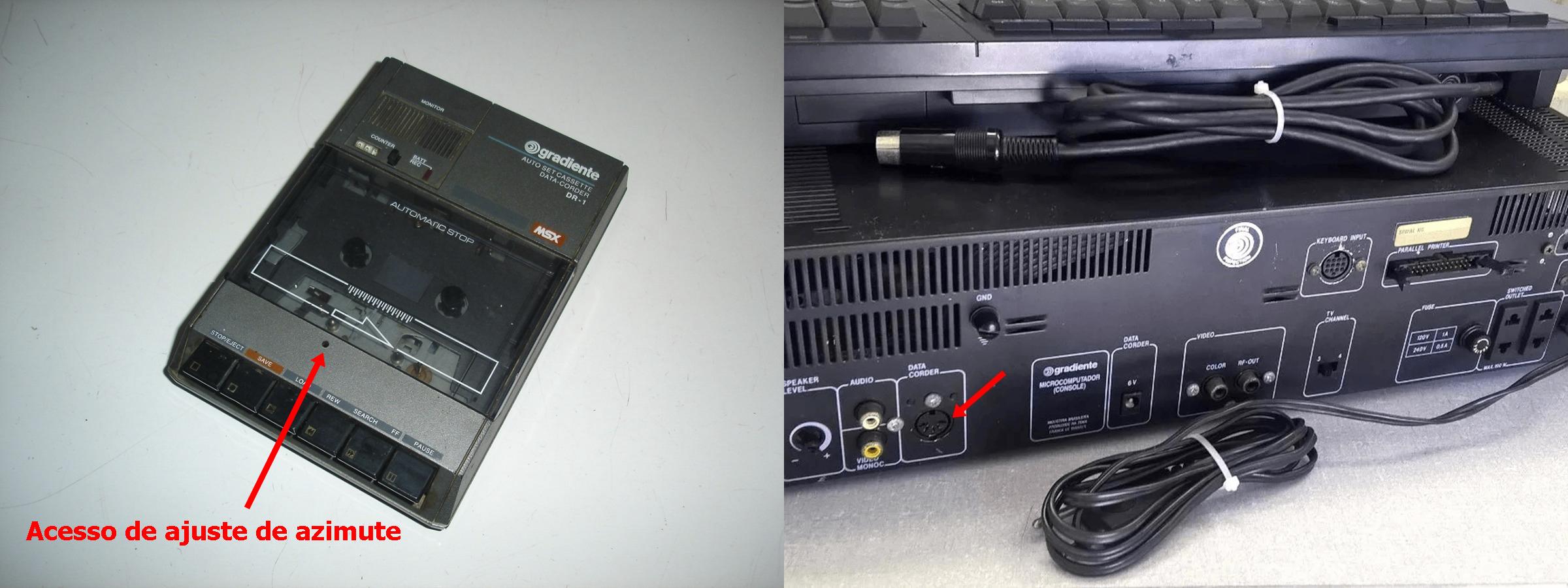 Armazenamento de dados usando o deck cassete Data Corder, fabricado pela Gradiente