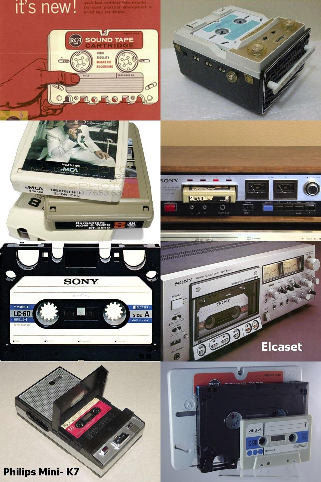 Diferentes formatos de cartuchos para a fita cassete