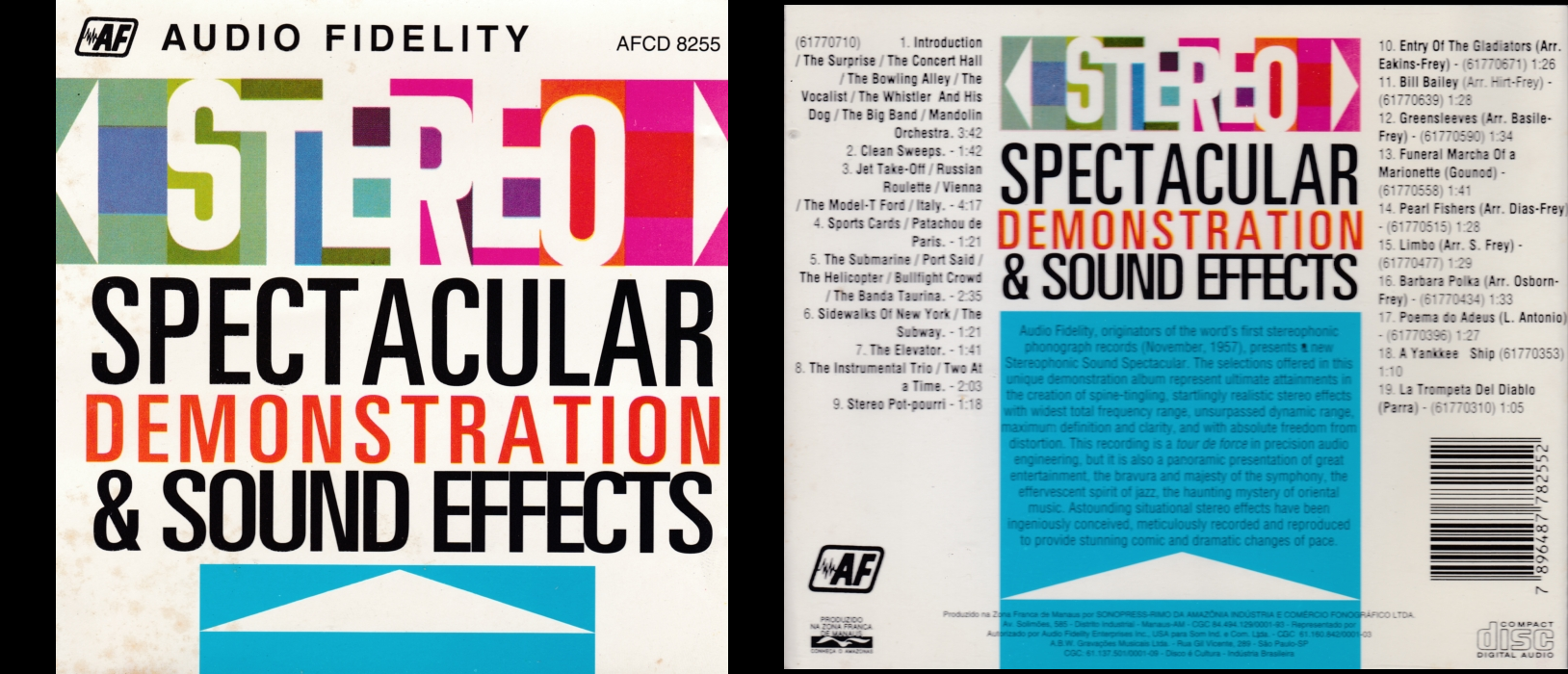 CD com efeitos da separação do som em dois canais