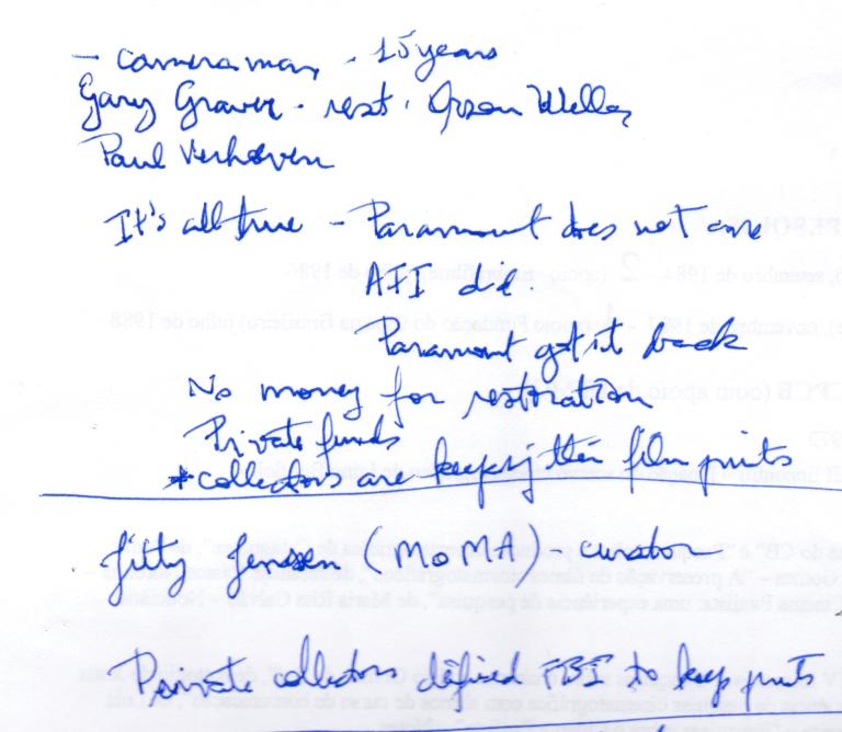 Anotações em palestra de Gary Graver, ligado a Orson Welles