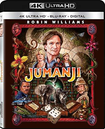 A edição em Blu-Ray UHD (4K) do filme Jumanji, de 1995, masterizado a partir do negativo original de câmera, exibe grãos em profusão mas excelente qualidade de imagem. Destaque para a remixagem da trilha sonora antiga para Dolby Atmos, com reprodução exemplar.