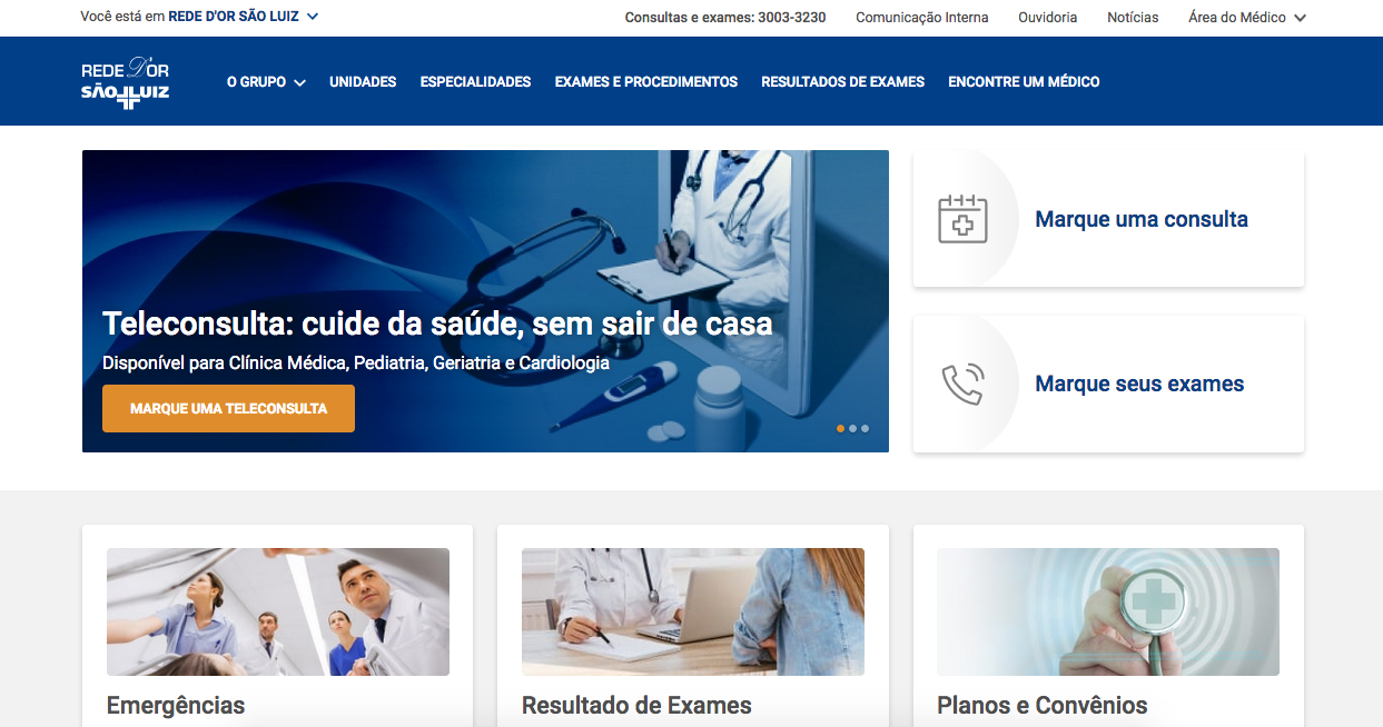 Site da Rede D'Or